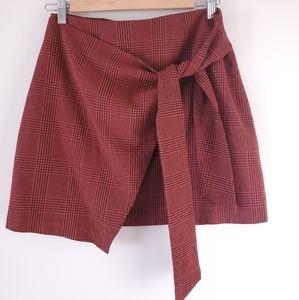 Aritzia wilfred dorine mini skirt, red plaid